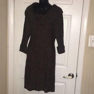 Brown off the shoulder or cowl neck sweater dress